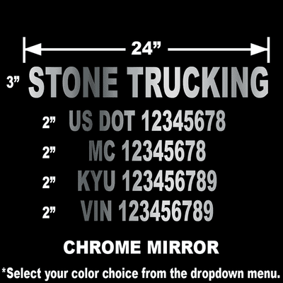 chrome mirror usdot number stickers with 5 lines of text for dept of transportation compliance