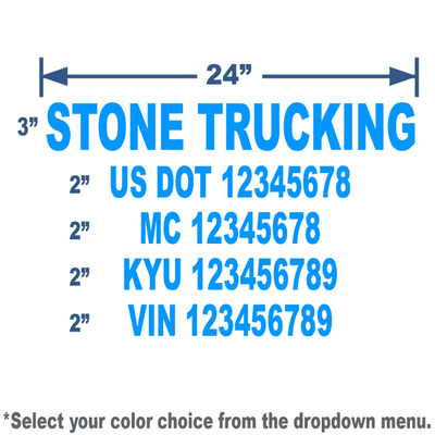 cool blue usdot number stickers with 5 lines of text meets usdot regulation