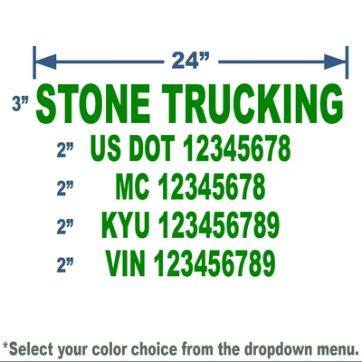 green usdot number stickers with 5 lines of text for truck lettering compliance