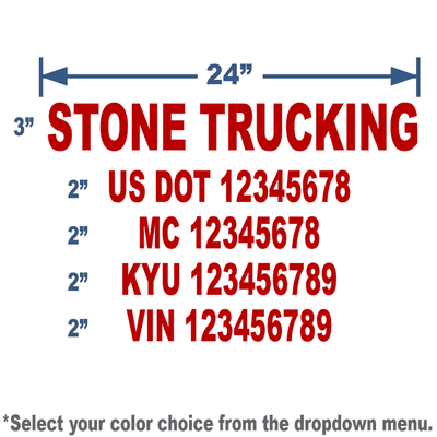 burgundy vinyl USDOT  number decal with 5 lines of text
