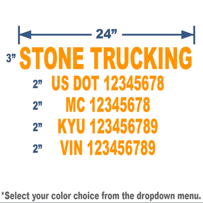 orange usdot number stickers with 5 lines of text for trucking compliance