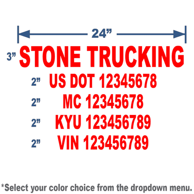 red us dot decal sticker with company name and truck numbers sized to meet trucking regulation