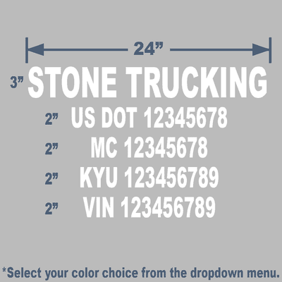 white usdot decals for trucking companies that are die cut with legal company name