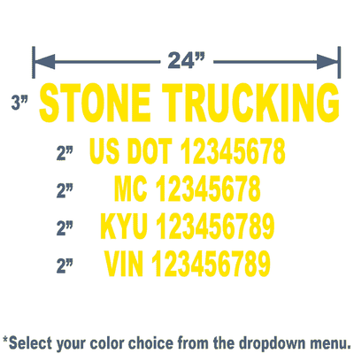 usdot number decals for trucks in yellow die cut lettering