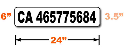 CA number magnetic sign with compliant lettering