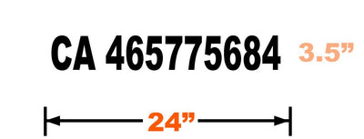 Dimensions and example of 24 inch by 3.5 inch California Transportation Authority CA number vinyl decal