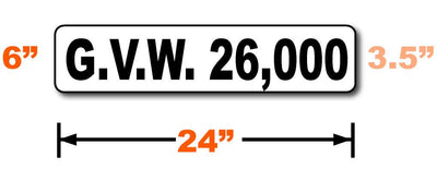 Dimensions of large Gross Vehicle Weight magnetic sign for vehicles are 24 inches by 6 inches with 3.5 inch tall text.
