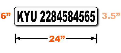 Dimensions of KYU number magnetic sign for trucks are 24 inches by 6 inches with a lettering height of 3.5 inches.