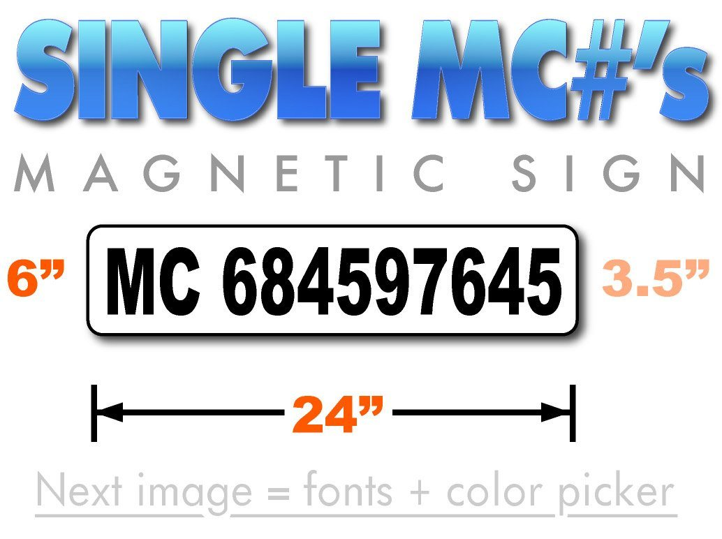 Motor Carrier MC number sign magnet