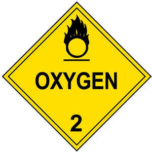 yellow oxygen class 2 hazmat placard decal or magnetic sign placard