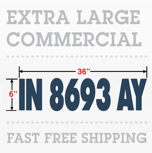 "Commercial Boat Number Registration Hull ID number Decal 6""x 36"""
