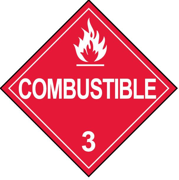 Class 3 Combustible Hazmat Placard Decal or Magnetic Sign Placard