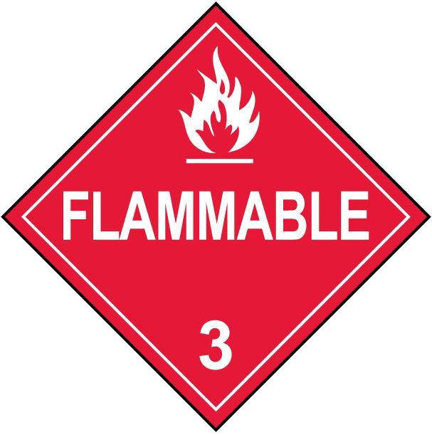 Class 3 Flammable Hazmat Placard Decal or Magnetic Sign Placard in Red
