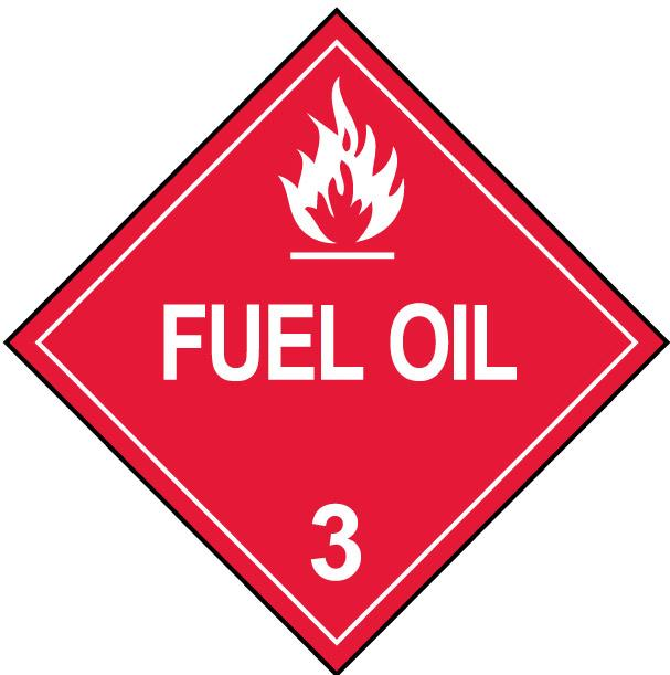 Class 3 Fuel Oil Flammable Placard Decal or Magnetic Sign Placard in Red