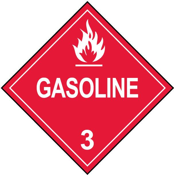 Gasoline Class 3 Fuel Oil Flammable Placard Decal or Magnetic Sign Placard in Red