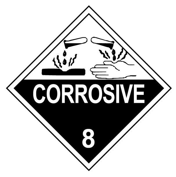 Class 8 Corrosive Hazmat Placard Decal or Magnetic Sign Placard