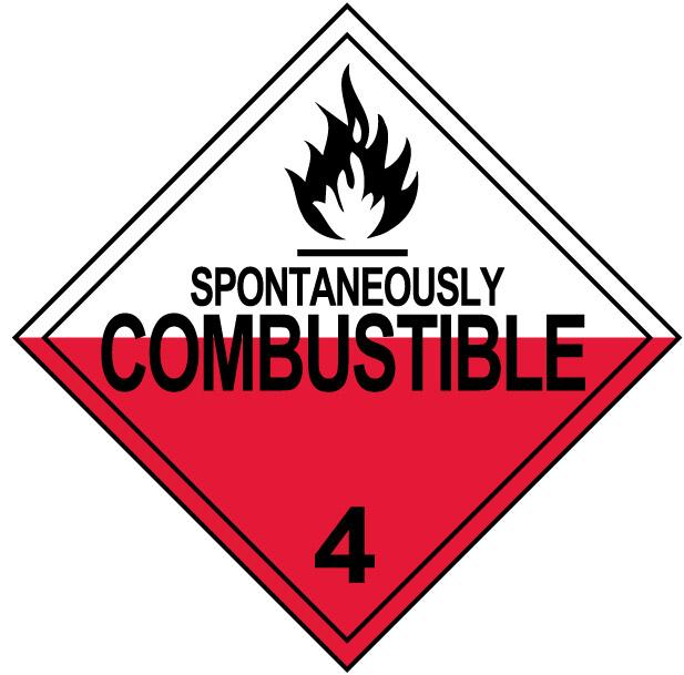 Class 4 Spontaneously Combustible Placard Decal or Magnetic Sign Placard