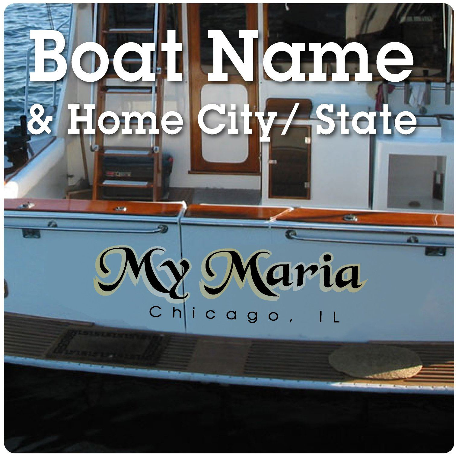 Boat Name and Hailing Port Stickers for Stern of Watercraft Vessel 18x6""