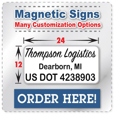 USDOT Number Magnetic Sign with Company Name, City, & DOT Number | 24x12