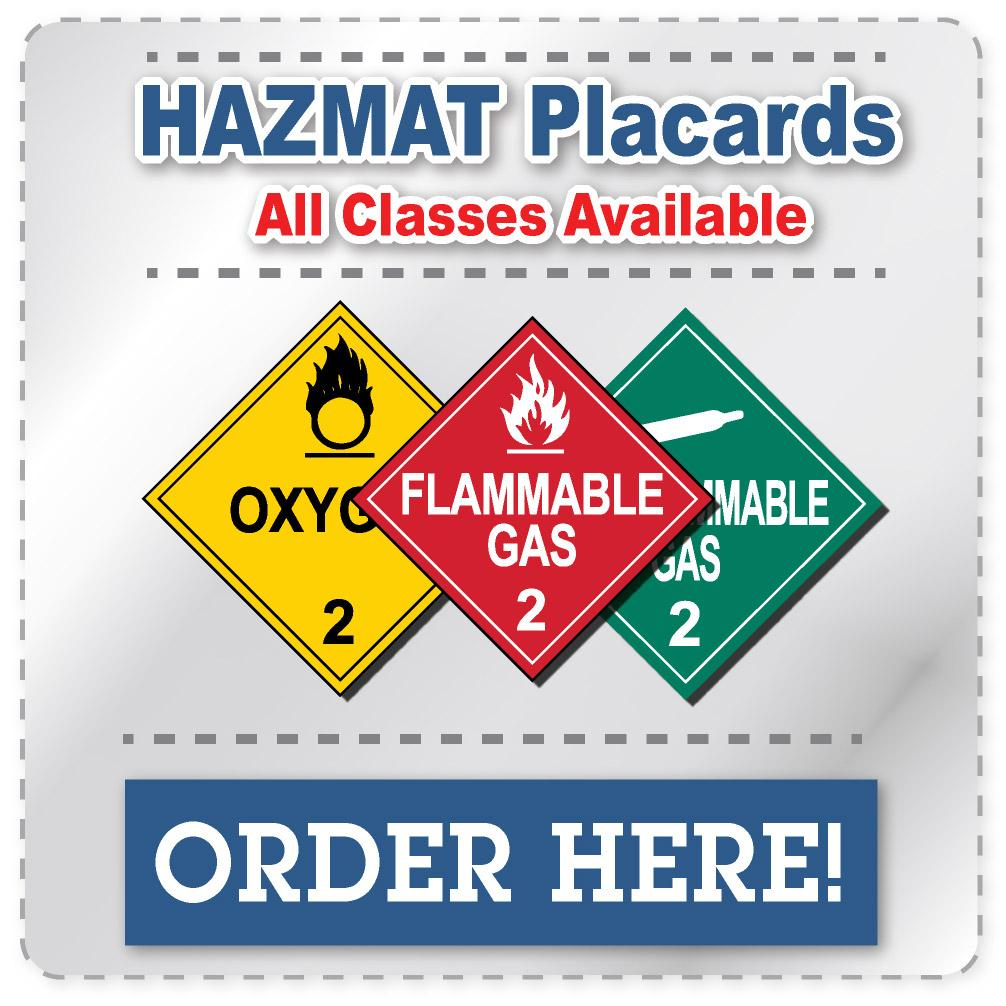 class 2 flammable gas red hazmat placard decal or magnetic sign