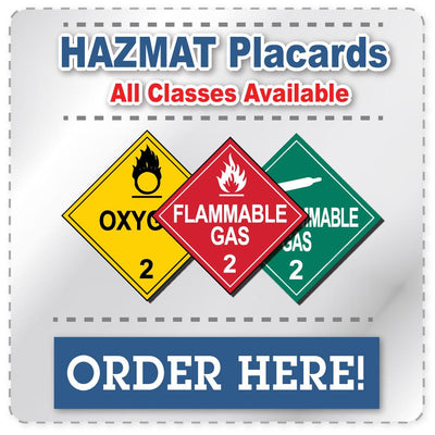 Class 2 Flammable Gas Red Hazmat Placard Decal or Magnetic Sign Placard