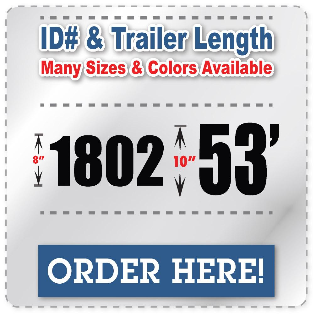 Fleet Number Truck Decals, Trailer Length, and Vehicle ID Number Stickers