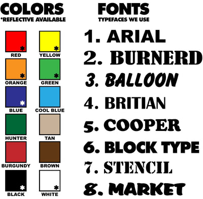 CA number decal font and color selection chart