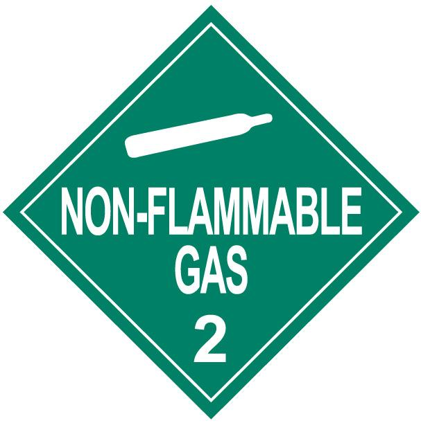 Class 2 Non-Flammable Gas Placard Decal or Magnetic Sign Placard