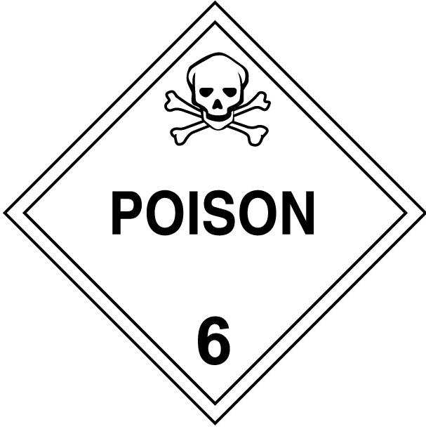 Class 6 Poison Hazardous Materials Placard Decal or Magnetic Sign Placard