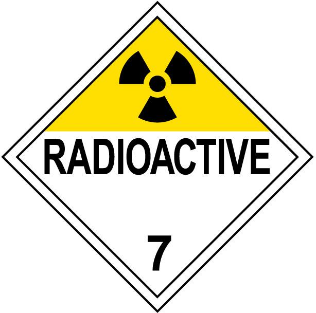 Class 7 Radioactive Placard Decal or Magnetic Sign Placard