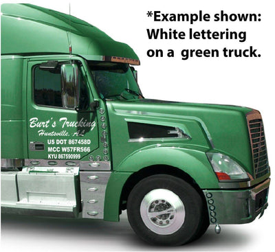 Green semi tractor with white USDOT complaint vinyl lettering.