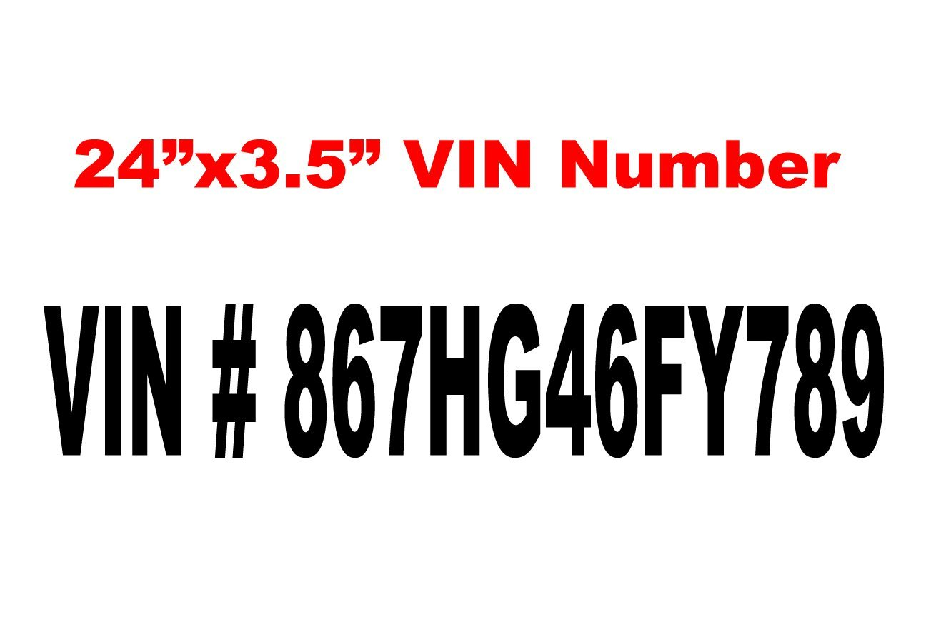 24 inch by 3.5 inch vehicle identification number vinyl decals shown in black lettering.