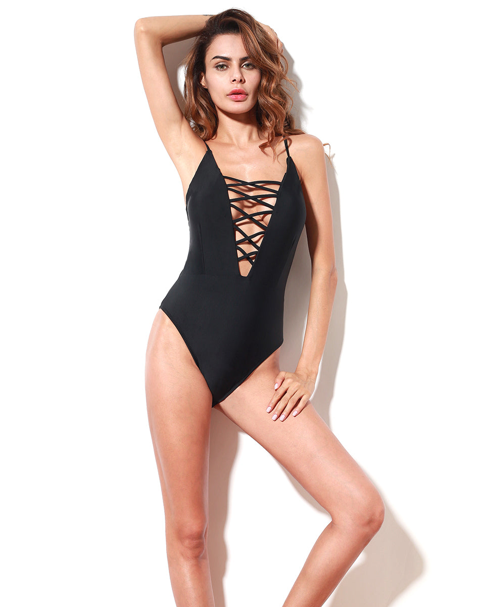Santa Monica Swim Strappy One Piece Swimsuit in Black