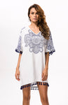 Santa Monica Swim Frilly V-Neck White Floral Pattern Cover-Up