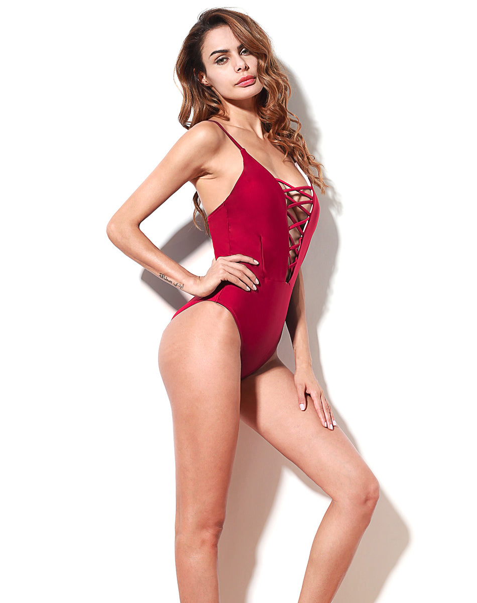 Santa Monica Swim Strappy One Piece Swimsuit in Red