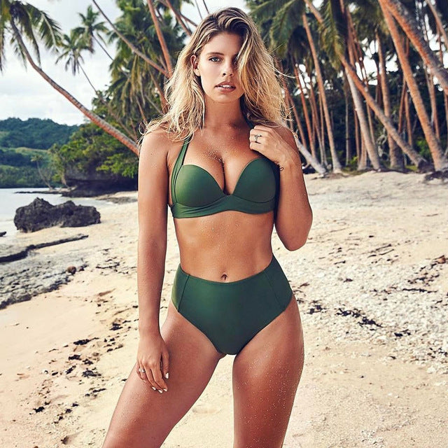 Santa Monica Swim High-Waist Push-Up Bikini in Green
