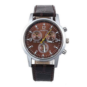 Leather Shock Resistant Wristwatch