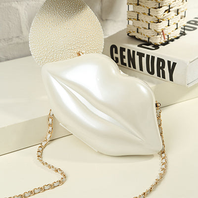 Lip-shaped Acrylic Shoulder Handbag