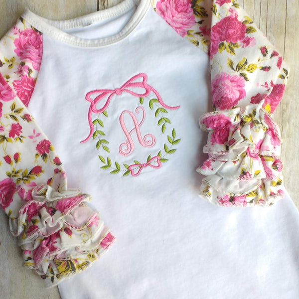 Personalized Floral Ruffle Raglan Baby Girl Gown – Mementos & Monograms