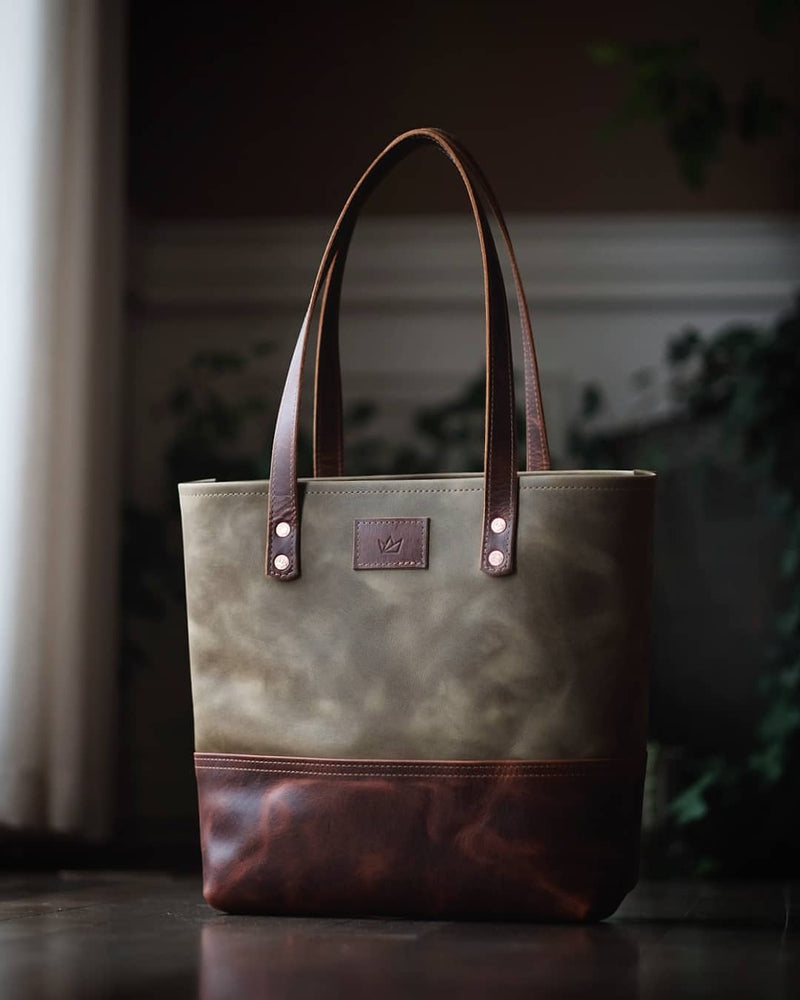 The Market Tote - Forest Olive & Rugged Tan