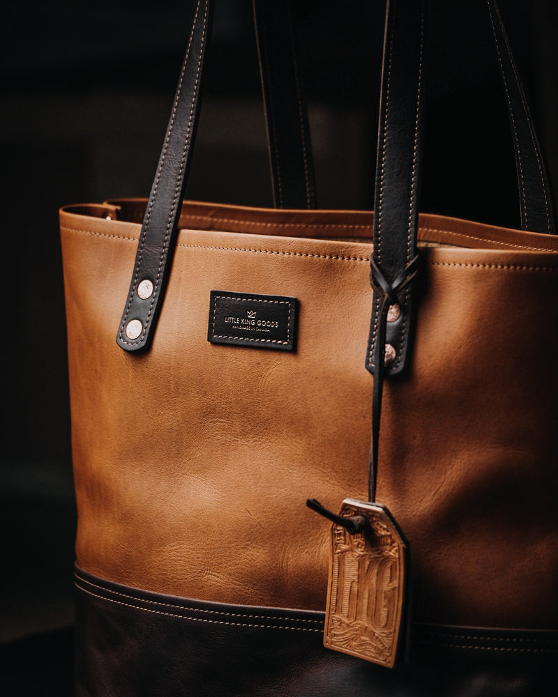 The Market Tote - Caramel & Dark Brown