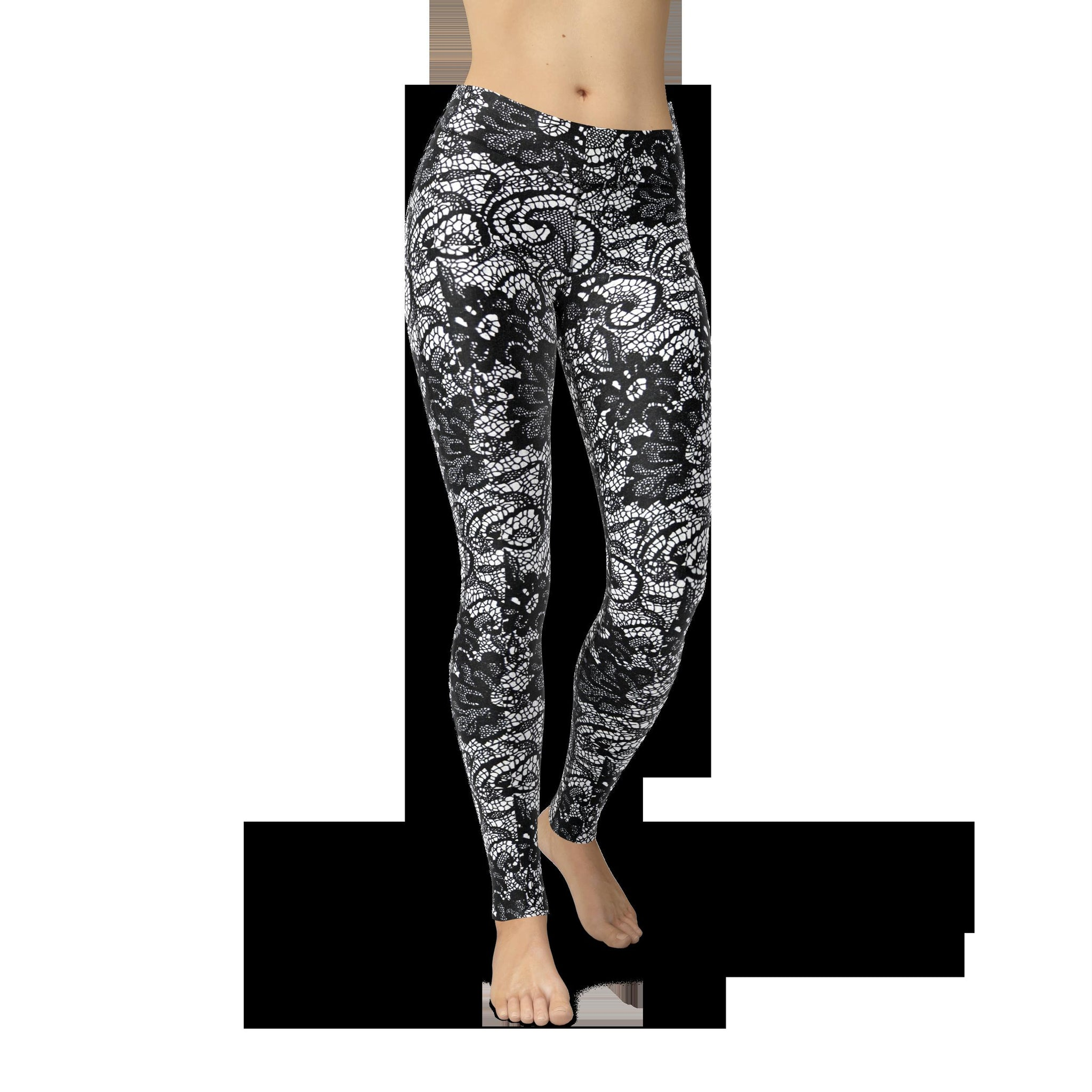 High-Waist Lace Mosaic Yoga Pants