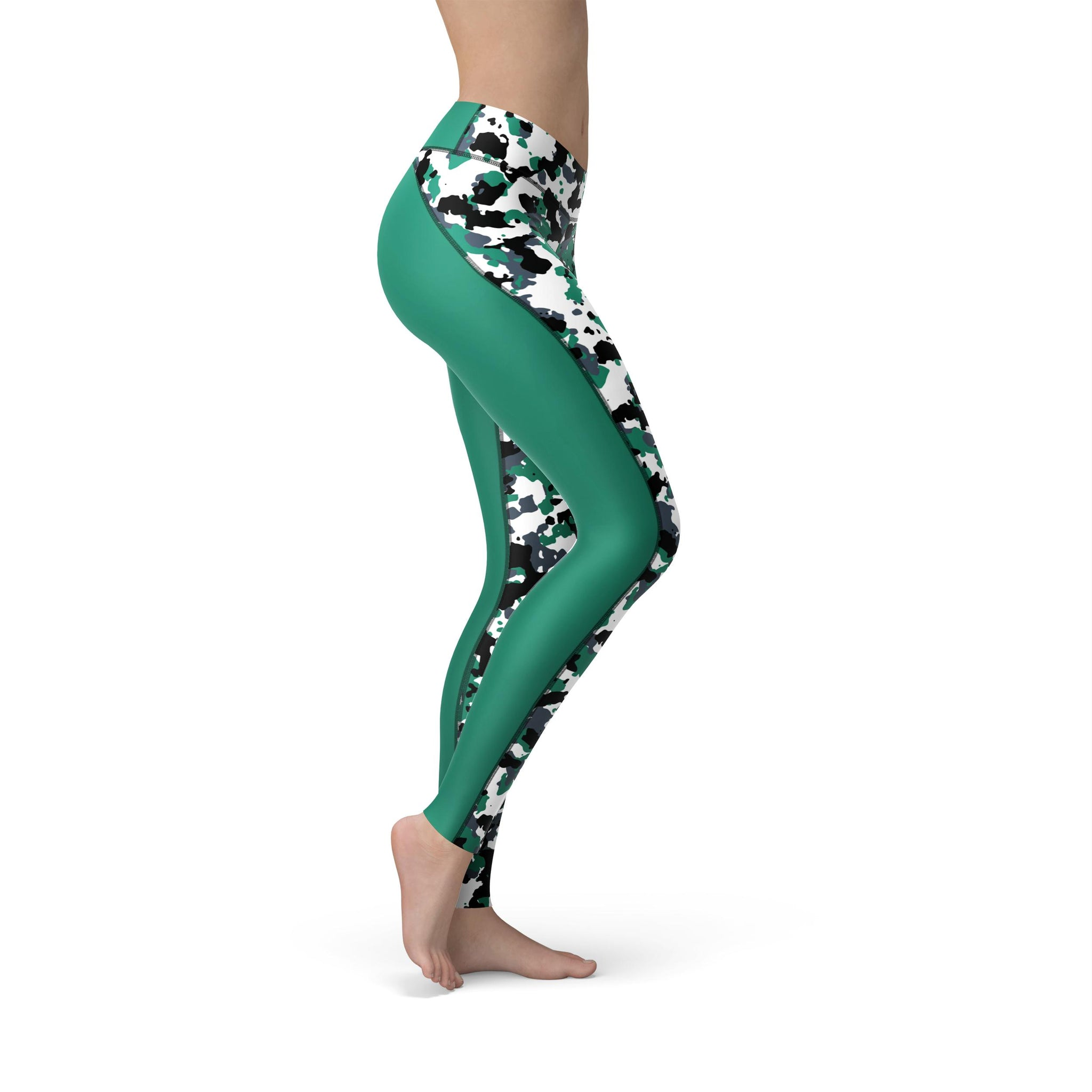 High-Waist Pastel Green Camouflage Yoga Pants