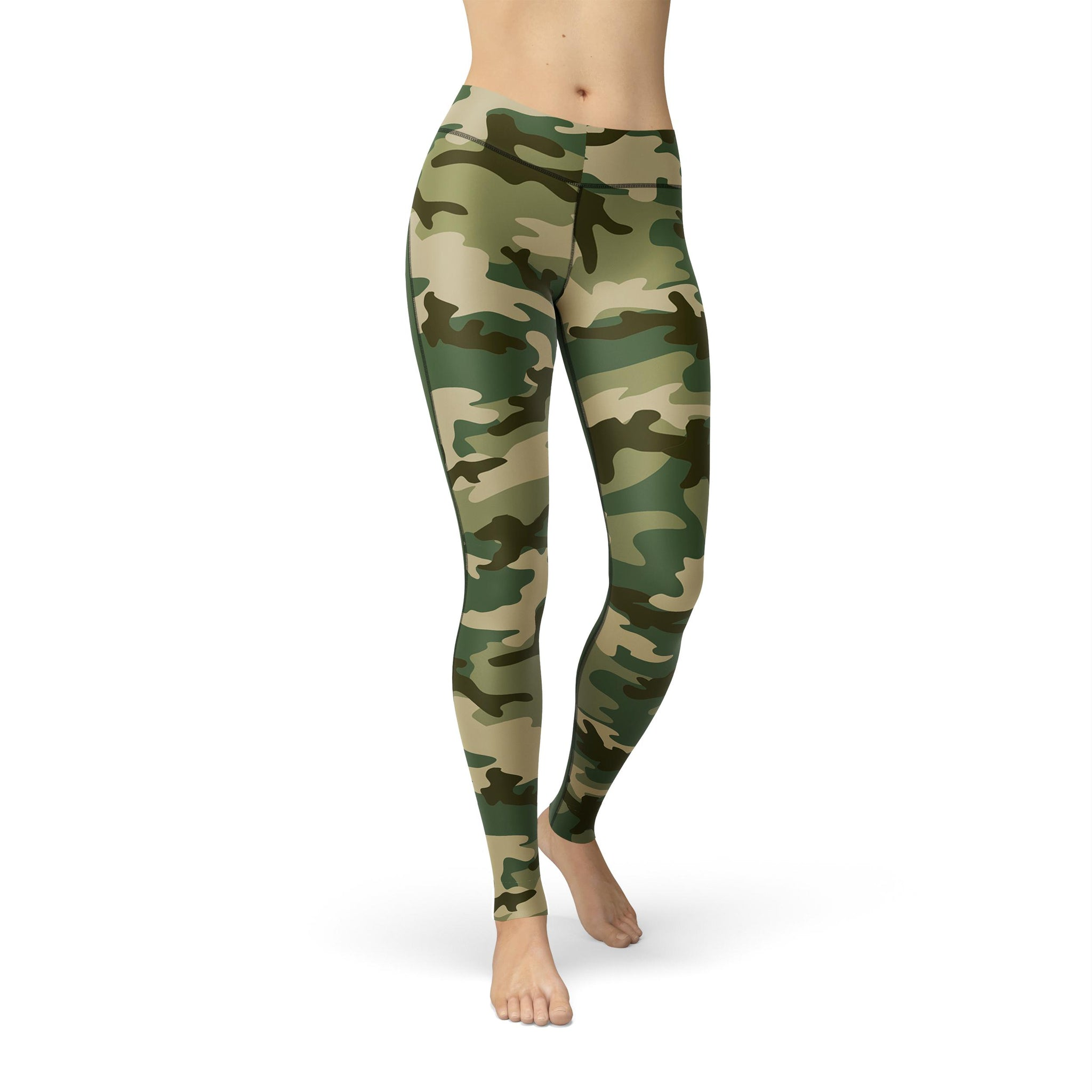 High-Waist Forest Camouflage Yoga Pants
