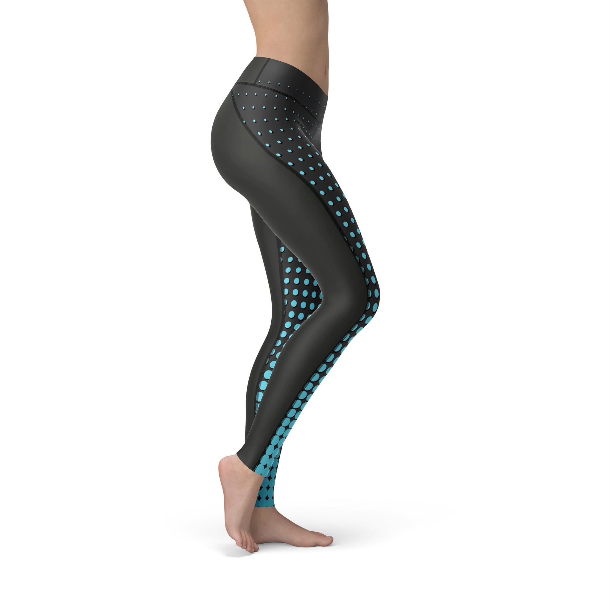 High-Waist Pixel Fusion Blue Yoga Pants