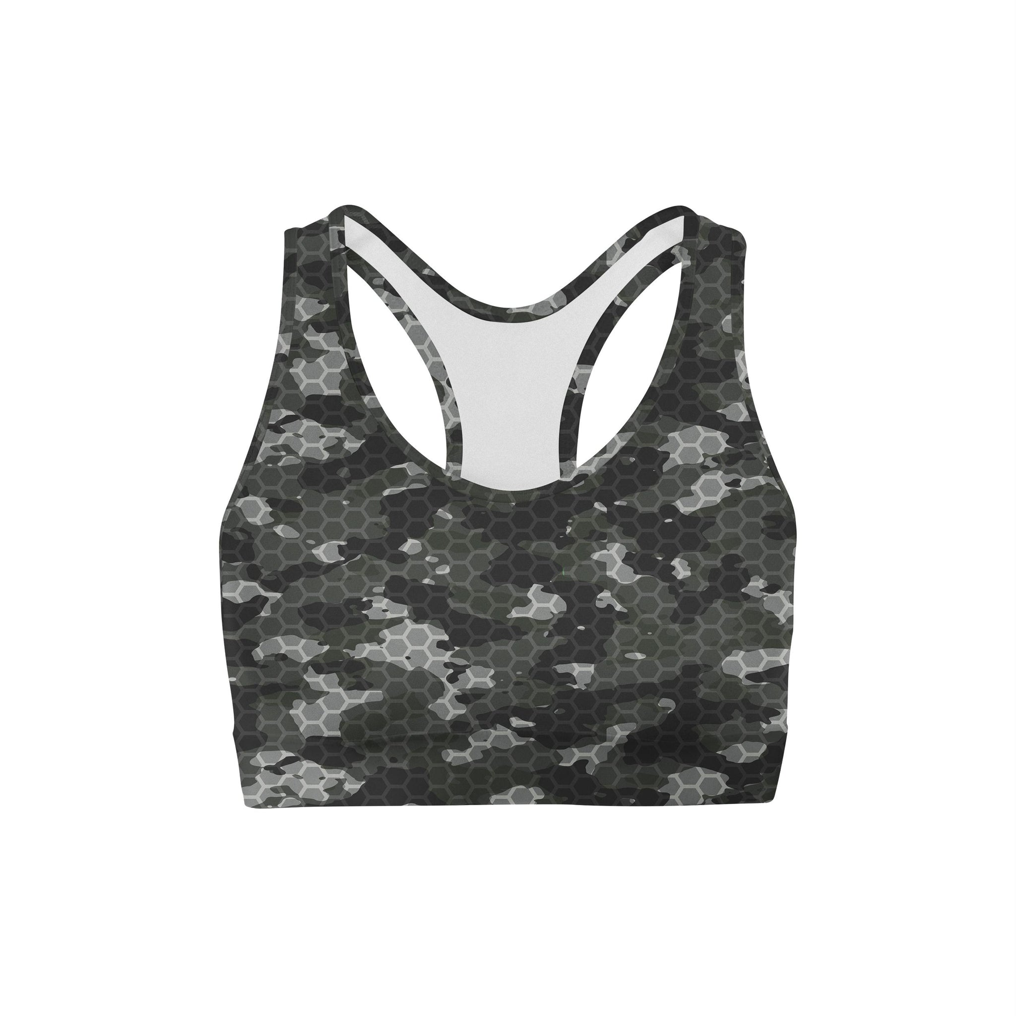 Black Rush Camouflage Mirror Sports Bra
