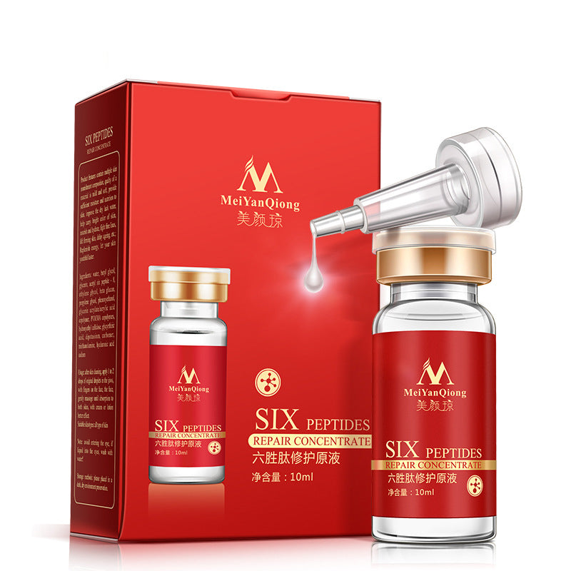 10ml MeiYanQiong SIX PEPTIDES Repair Concentrate Liquid Face Serum Anti-aging Anti Wrinkle Skin Tratement Essential Oil Firming