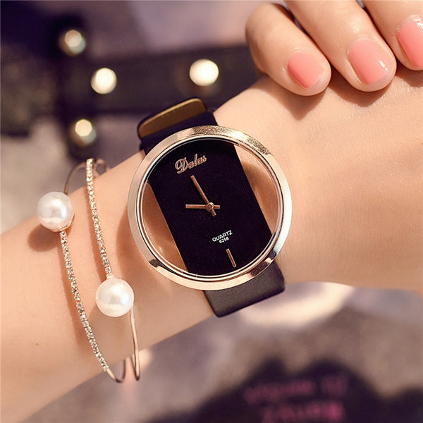 Leather Strap Black Women Watch