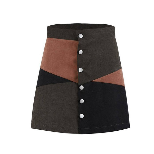 High Waist Block A-Line Skirt