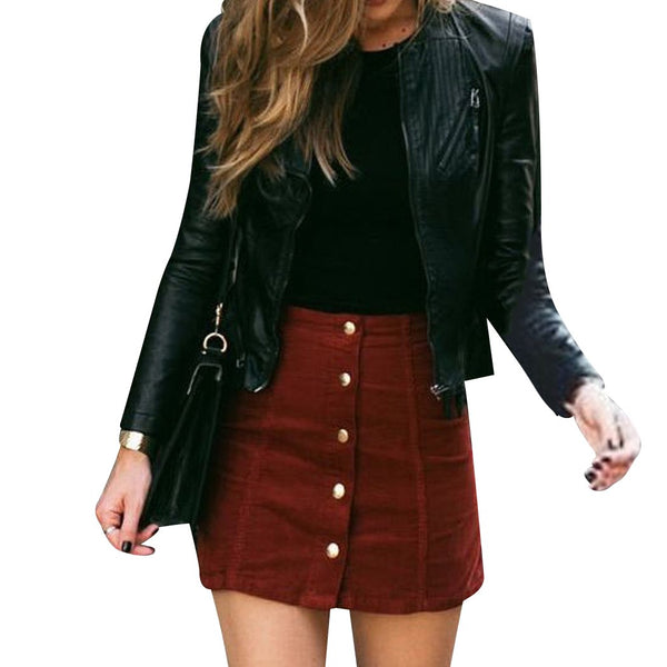 Women Suede A-Line Skirt